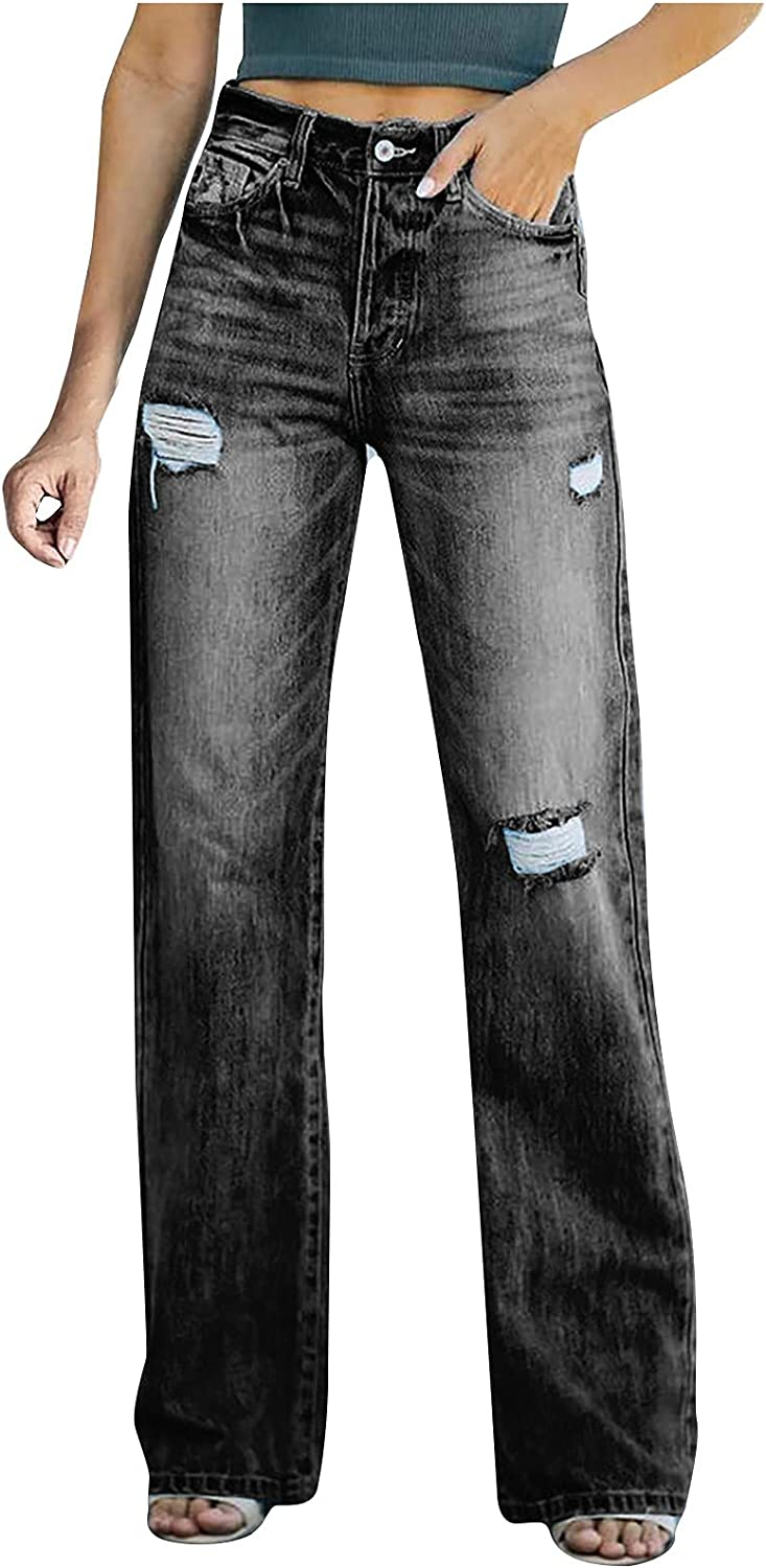 MIVAMIYA Women's Bootcut Mom Jeans High Waisted Ripped Boyfriend Relaxed Fit Straight Wide Leg Y2k Distressed Jeans Pants