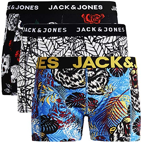 Jack & Jones - Calzoncillos tipo bóxer para hombre, 3 unidades, mezcla de algodón