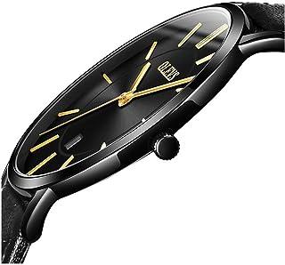 OLEVS - Reloj de pulsera para hombre, minimalista, ultra fino, estilo informal, analógico, de cuarzo, resistente al agua, con correa de piel auténtica para hombre, de aleación simple y delgada, con esfera grande