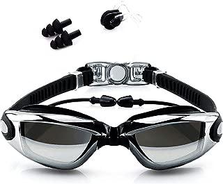 Gafas de Natación, Antiniebla Protección UV Sin Fugas Gafas Natación con Libre Clip de Nariz Enchufe de oído, Visión Amplia Clara para Hombres Mujeres Adultos Niños de la Juventud Niño para Piscina Deportes Acuáticos