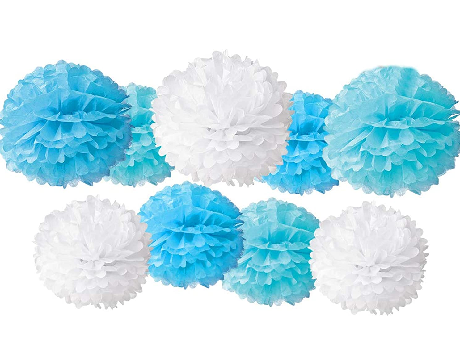 9 Pcs Party Supplies Tissue Paper Pom Poms Kit for Birthday Party Decorations - Baby Shower Decorations - Bridal Shower Decorations - Wedding Decorations - Bachelorette(Sky Blue,Wathet,White)