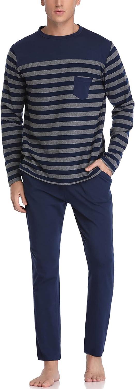 Aseniza Pijamas Hombre Invierno de Manga Larga de Algodón Pantalon Pijama Hombre Conjunto de Pijama de Hombre 2 Pieza