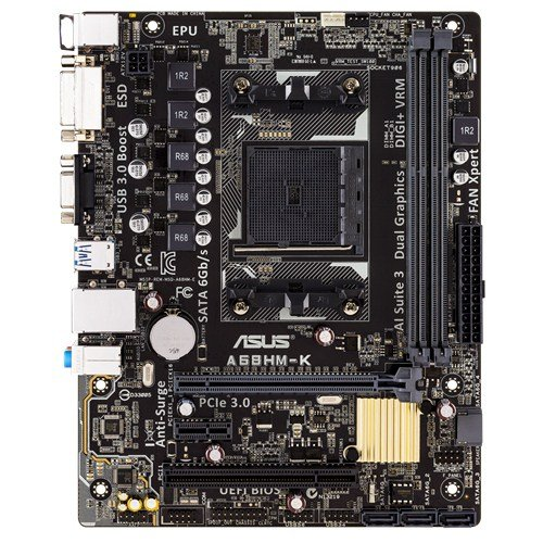 ASUS A68HM-K Motherboard Socket FM2+ AMD A68 Micro ATX - Motherboards (DDR3-SDRAM, DIMM, 1333,1600,1866,2133,2400 MHz, Dual, 2GB,4GB,8GB, 32 GB)