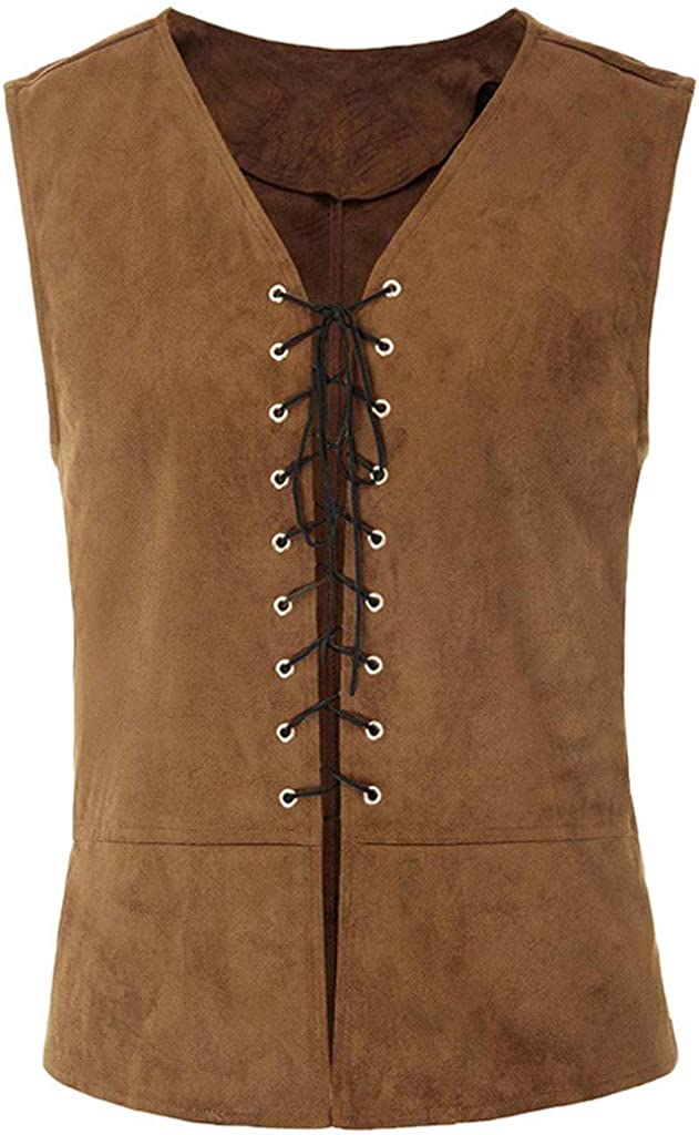 Gergeos Men Vintage Medieval Vest V-Neck Laced Up Renaissance Gothic Sleeveless Waistcoat