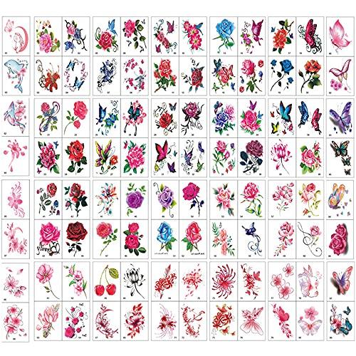 100 Fogli 3D Farfalla Fiori Adesivi Tatuaggio, Tatuaggi Temporanei per Donna Uomo, Body Art Impermeabile Temporanei Tatuaggi per Ragazza Bambini Festa di Compleanno Regalo