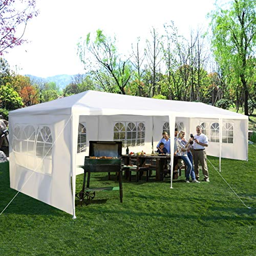 Tangkula 10'x30' Outdoor Canopy Tent Heavy Duty Party Wedding Event Tent Sturdy Steel Frame with 5 Removable Sidewalls Waterproof Sun Snow Rain Shelter Gazebo Canopy Tent, White