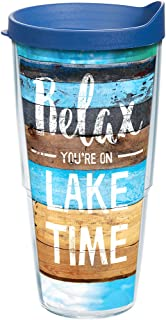 Tervis 1250219 Relax You're on Lake Time Tumbler with Wrap and Blue Lid 24oz, Clear