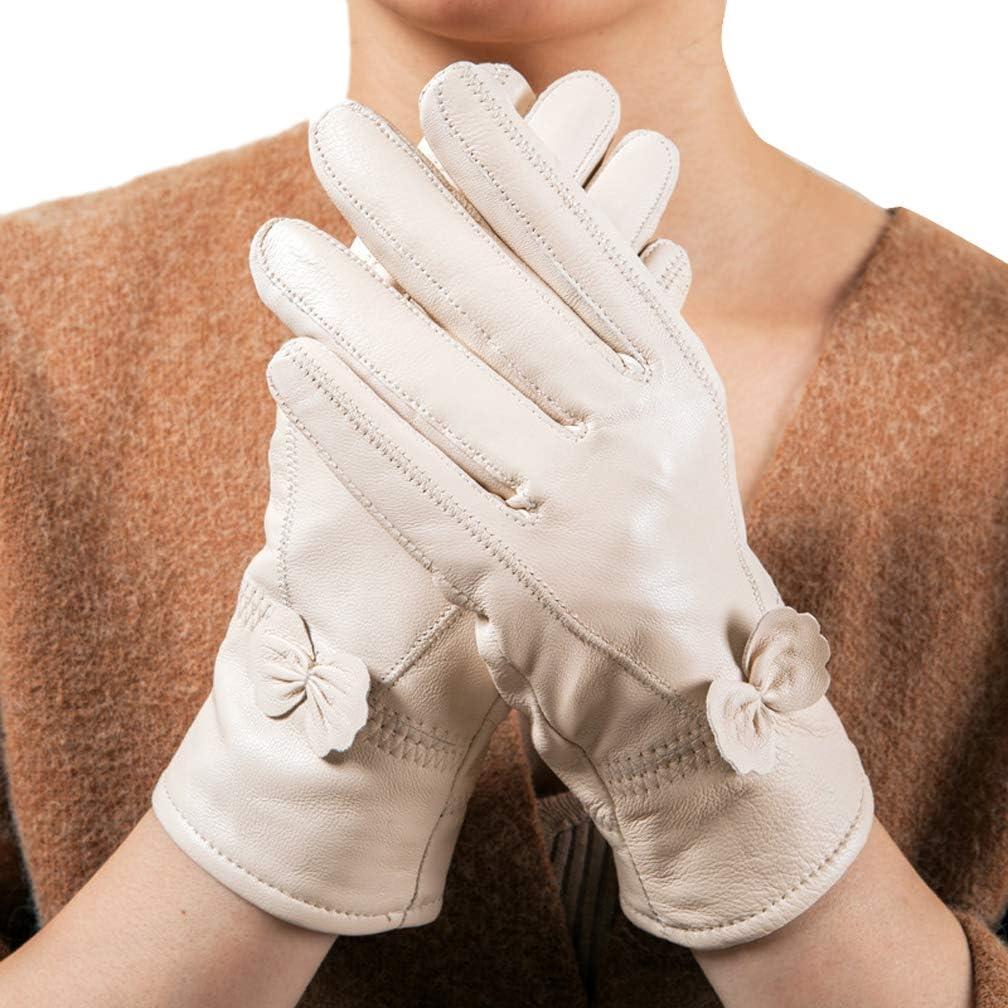 Eliffete Womens Real Lambskin Winter Gloves Windproof Fleece Lined Warm Mittens
