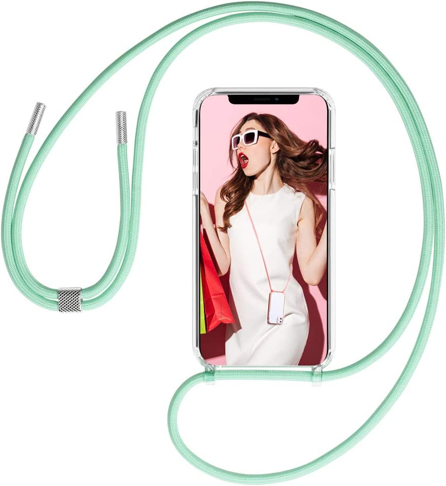 GOODVISH Clear Crossbody Case Compatible with 11 Pro - TPU Adjustable Neck Lanyard Shockproof Full Covered Case for iPhone 11 Pro 5.8 inch, Green