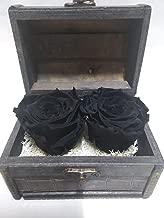 Rosas eternas Negras. Cofre de Madera con Dos Rosas Naturales preservadas Negras sobre Base de musgos preservados. Hecho en España.