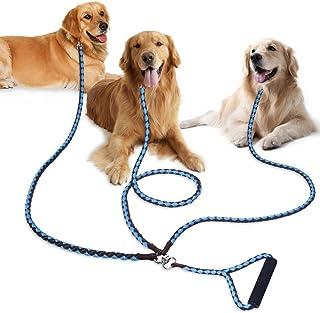PETBABA(ペットババ) 犬 リード 3匹用 トリプルリード 1.4m 犬用三頭引きリード 多頭飼いに便利 散歩 ロープ 中型犬 大型犬 ペット用品 (ブラウン-ライトブルー)