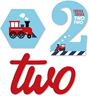 2nd Birthday Railroad Party Crossing - DIY Shaped Steam Train Second Birthday Party Cut-Outs - 24 Count