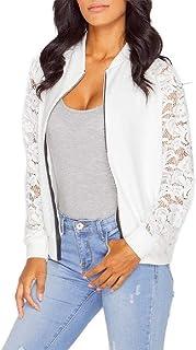 neveraway Women's Casual Lace Patchwork Zip-up Slim Fit Bomber Short Jacket Coat