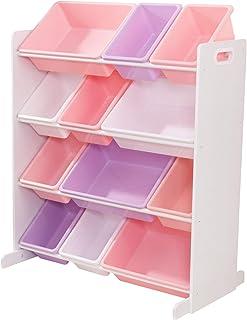 KidKraft 15450 Sort It & Store It förvaringssystem med 12 lådor i pastellfärger och vita – rumsmöbler för barn