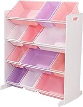 KidKraft 15450 Sort It & Store It förvaringssystem med 12 lådor i pastellfärger och vit – barnrumsmöbler