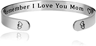 Remember I Love You Mom Cuff Bangle Bracelet Mom Gift From Daughter Son For Mother's Day