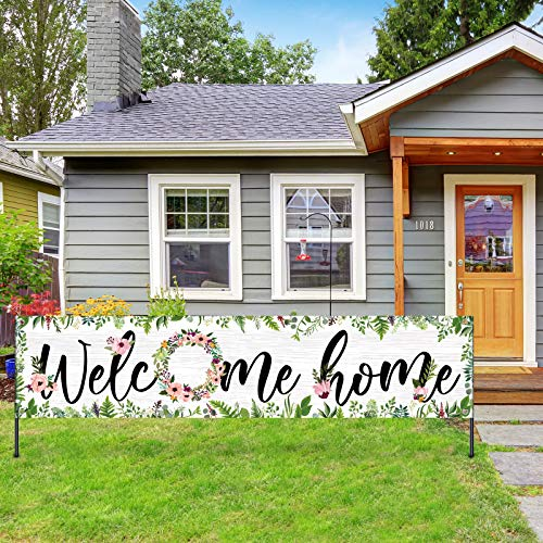 Large Welcome Home Banner Flower Cluster Welcome Banner Yard Sign Decoration Spring Summer Fall Winter Floral Welcome Home Garland Hanging Photo Booth Background for Home Outdoor Outside Party Decor