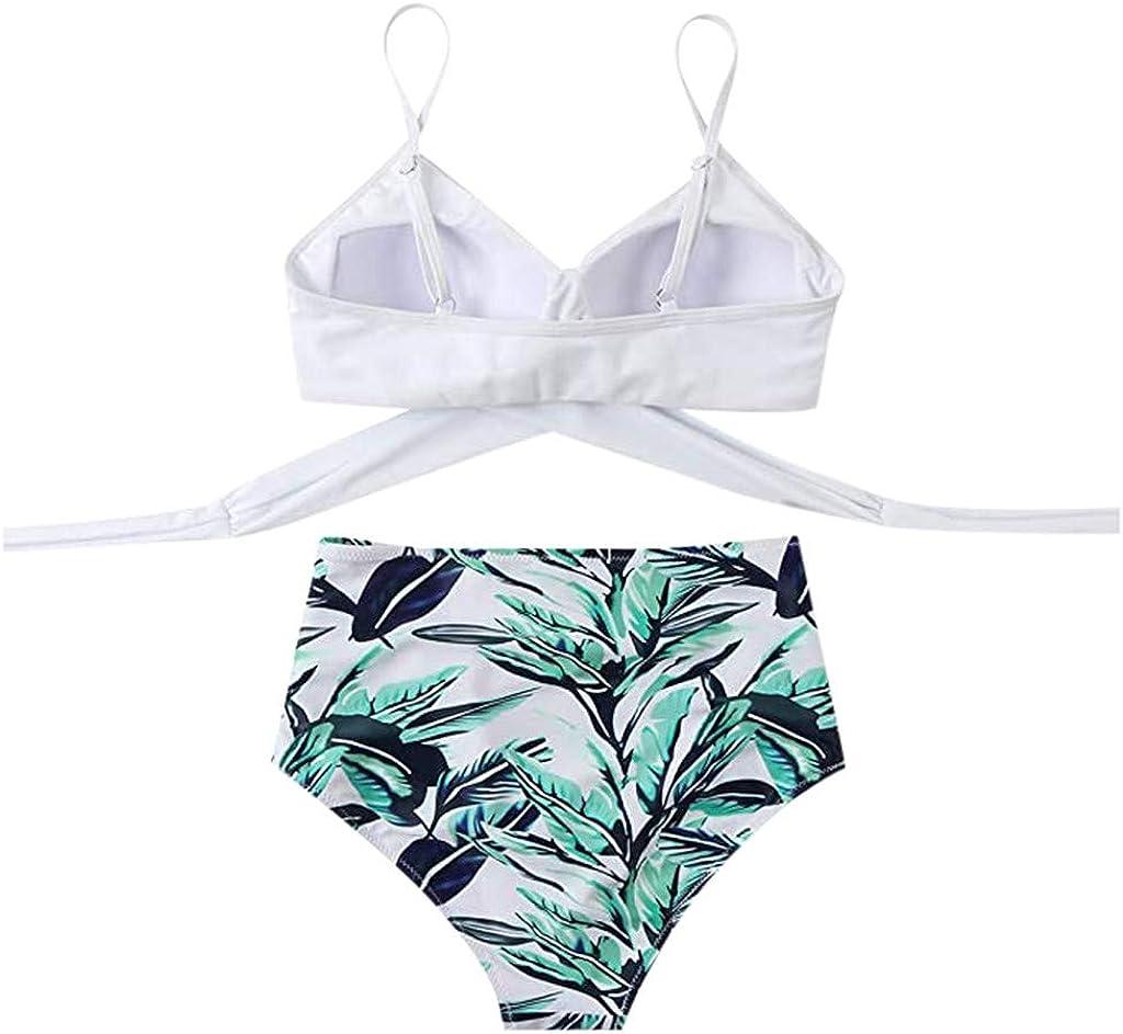 2021 Summer Women Tankini Swimsuit Sexy Low-Cut Stitching Printed Bikini Strap Beachwear Swimsuit Set White