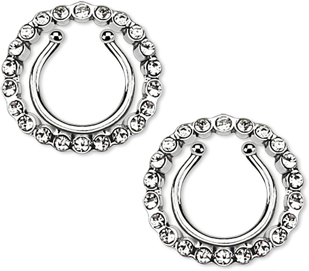 CZ Crystal Paved Circle No Pierce Fake Clip On Nipple Ring, Sold as a Pair