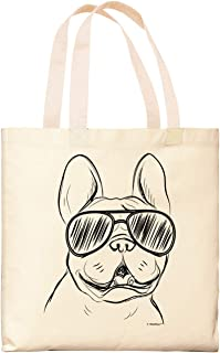 Dog Tote Bags Bulldog Wearing Sunglasses Frenchie Bag Dog Lover Gift Dog Owner Gift Canvas Tote Bag