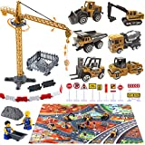 Golray Construction Vehicles Toys with Tower Crane, 28' x 31.5' Play Mat, Alloy Digger Cars Engineering Play Sets, Road Signs Workers Kit, Construction Trucks Toys for 3 4 5 Year Old Boys Toddlers Kid