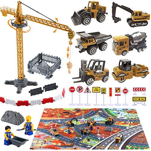 Baufahrzeuge Kinder Fahrzeug Spielzeug mit Spielmatte Kran Spielzeug Bagger Dampfwalze Planierraupe Lastwagen Betonmischer Gabelstapler Baustellenfahrzeuge Geschenk für Kinder Jungen 3 4 5 6 7 Jahr