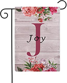 """ULOVE LOVE YOURSELF Flowers Small Garden Flags with Monogram Letter J """"Joy"""" Double Sided Burlap Garden Flags 12.5×18 Inch ..."""
