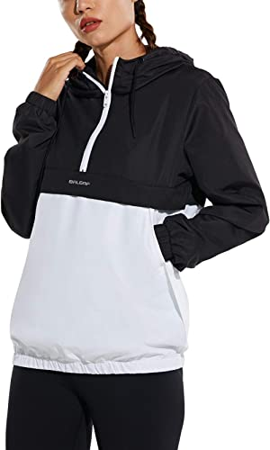 BALEAF Women's 1/2 Half Zip Lightweight Casual Hoodie Windbreaker Waterproof Pollover Hooded Pockets