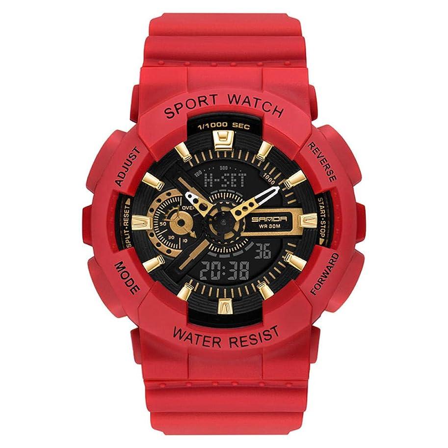 契約する振幅ゴールデンボーイズ腕時計赤い多機能スポーツ電子時計デュアルディスプレイ学生時計ファッション防水子供学生時計-D