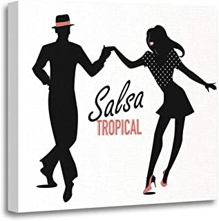 Emvency Canvas Wall Art Print White Dance Silhouette of Couple Dancing Latin Music Dancer Artwork for Home Decor 16 x 16 Inches