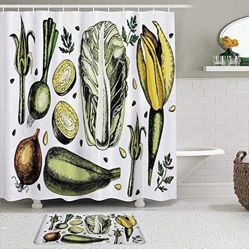 JISMUCI Duschvorhang,Beliebte Gemüse Kunst Zwiebel Kohl Artischocken Spargel Vegan Diet Wellbeing Concept, 2 Stück mit Haken wasserdicht Polyester Stoff Bad Dekor 71 In