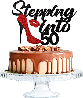 Sponsored Ad - Stepping Into 50th birthday cake topper-50 years old female birthday cake topper-50th anniversary party sup...