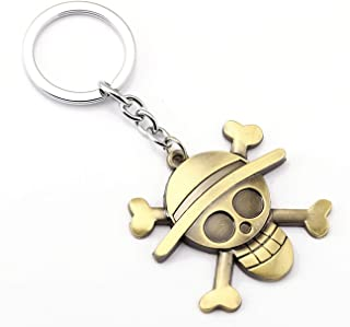 1pc Anime Series One Piece Luffy Straw Hat Skull Keychains Metal Key Ring