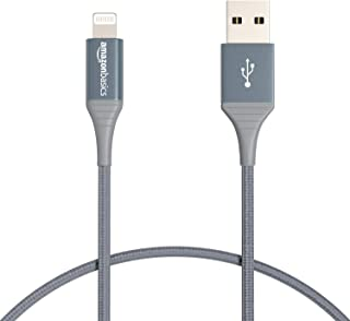 Amazon Basics Double Braided Nylon Lightning to USB Cable - Advanced Collection, MFi Certified Apple iPhone Charger, Dark ...