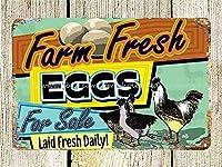 ファーム新鮮な卵ヴィンテージスタイルメタルサインアイアン絵画屋内 & 屋外ホームバーコーヒーキッチン壁の装飾 8 × 12 インチ