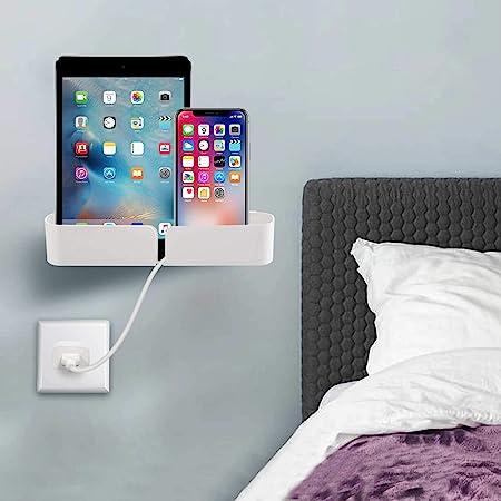 Bedside Shelf Caddy Basket Pocket Organizer to Storage Remotes,Tablet Cellphone Charging,Clock- Stick On Adhesive Tapes & Nails Installations Both Offered for Bedroom,Dorm,Offices.(1 Psc /Set)