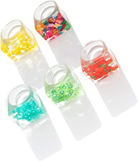 Resin Rings-Acrylic Ring Chunky Ring Set Retro Cute Colorful Plastic Rings for Women Band Statement Rings for Women Girls ...