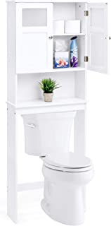 Best Choice Products Wooden Over-The-Toilet Space Saving Cabinet Shelf Tower Rack for Linens, Toiletry, White
