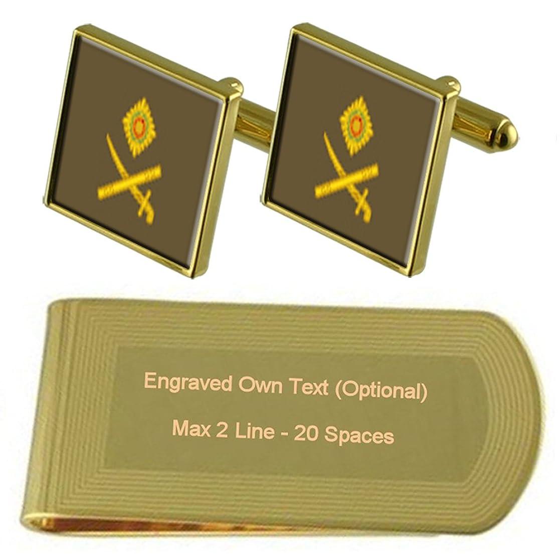 人里離れた管理する近代化する陸軍記章ランク主な一般的なゴールドトーン カフスボタン お金クリップを刻まれたギフトセット