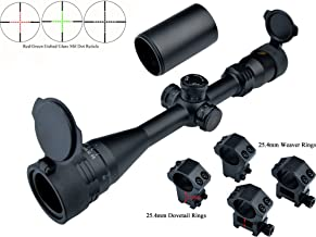 Eagle Eye Hunting Rifle Scope 4-16x40 AORed/Green Illuminating (25.4mm Tube) Turrets with Lock/Reset and Etched Glass Mil Dot Riflescope with 2 Kinds of Mounts