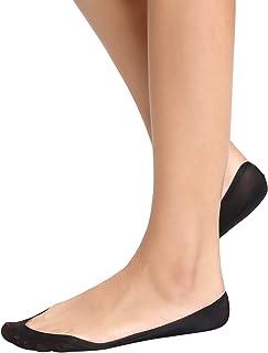 6b4c0f256cb40 Abollria Chaussettes Invisibles 4 Paires Noir Beige Femme Coupe Basse  Silicone Socquettes Ballerine Chaussettes Anti-