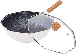 Wok matifan pierre piqu octogonale non-bâton casserole cuisson poêle à induction cuisinière cuisinière à gaz universel