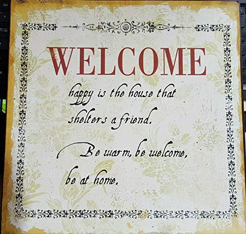 """La Finesse Cartel de chapa con texto \""""Welcome\"""", vintage, 30,5 x 30,5 cm, con colgador."""
