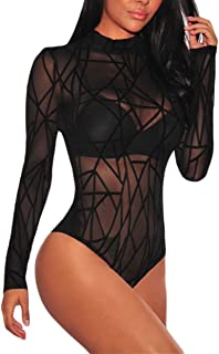 Bodysuit for Women Long Sleeve Black Sheer Mesh Sleeveless Sexy Lingerie