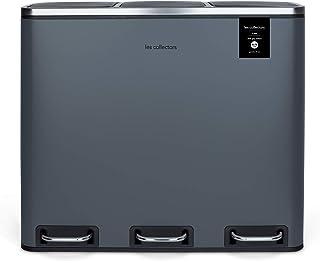 Poubelle de tri à pédale Dark Grey Les Collectors N°984 Capacité 60 L, Résistante, Cuisine, Séparateur de déchets 2 bacs, ...