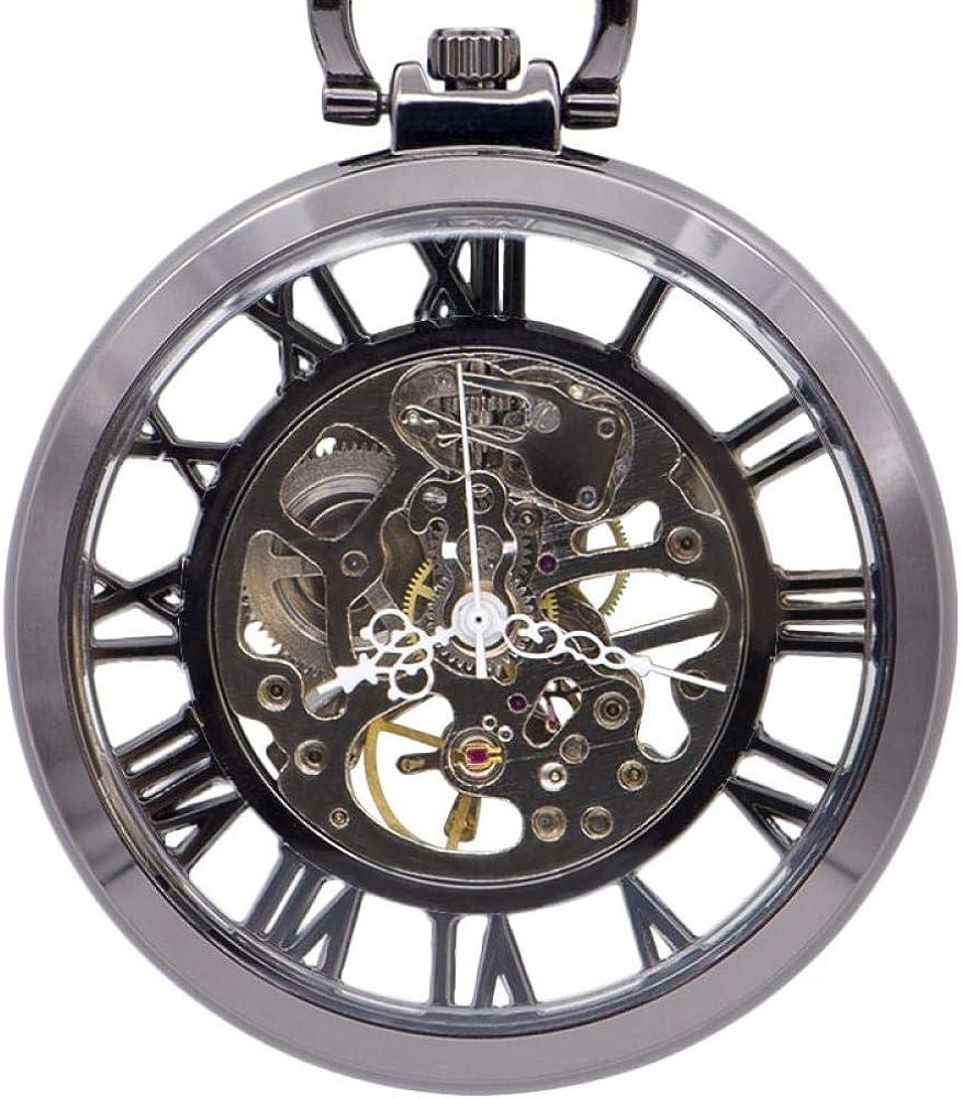 LEYUANA Reloj de Bolsillo mecánico de Plata automático de Lujo de Mano Reloj de Bolsillo de Esqueleto Números Romanos análogos Blancos Unisex Fob