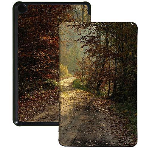 QIYI Funda tipo libro para tablet Amazon Fire 7 (9.ª generación, 2019), cubierta para lector de libros electrónicos, funda de piel sintética, función atril, funda protectora para otoño Forest Road