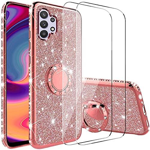 Vansdon Cover Compatibile con Samsung Galaxy A32 5G +[3X Pellicola Protettiva in Vetro Temperato], Copertura Protettiva con Diamante Glitterato con Anello a 360 Gradi- Oro Rosa