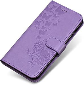 V30 Case  The Grafu  Wallet Case Soft Silicone Inner Shell Leather Embossed Magnetic Cover with Stand Function for V30  Purple