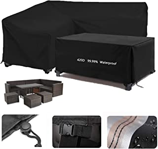 420D Oxford Fabric Garden V-Shape Furniture Cover, 98% Waterproof Sofa Protect Set, Black L Shape Outdoor Dining Patio Set...